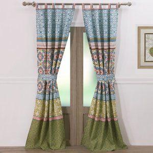 Bungalow Rose Semi-Sheer Geometric Tab Top Curtain